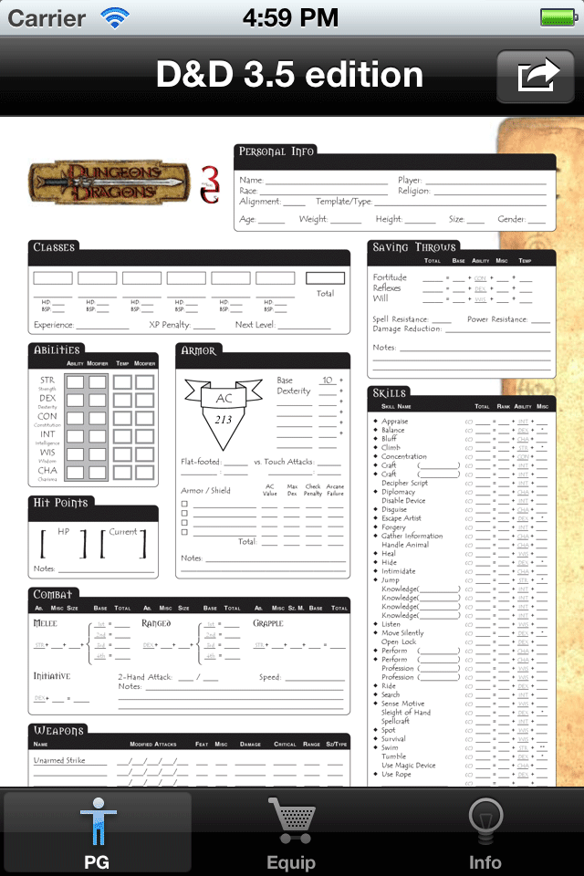Screenshot Real Sheet: D&D 3.5 Edition